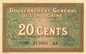 Banknotes Indochine. Billet. 20 cents (1939). Gouvernement général