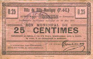 Banknotes Billy-Montigny (62). Ville. Billet. 25 cmes 20.5.1915, série A, 6e émission