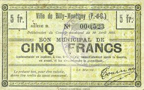 Banknotes Billy-Montigny (62). Ville. Billet. 5 francs 19.4.1915, série B