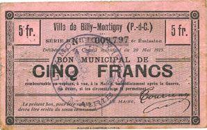 Banknotes Billy-Montigny (62). Ville. Billet. 5 francs 20.5.1915, série D