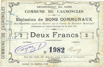 Banknotes Cagnoncles (59). Commune. Billet. 2 francs 20.8.1915
