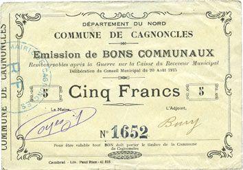 Banknotes Cagnoncles (59). Commune. Billet. 5 francs 20.8.1915