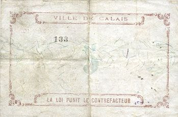 Banknotes Calais (62). Ville. Billet. 5 francs 15.9.1914, série 10