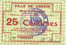Banknotes Carvin (62), Ville, billet, 25 cmes 15.1.1915, fond constitué de motifs floraux au revers