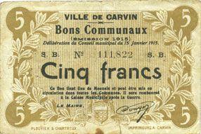 Banknotes Carvin (62). Ville. Billet. 5 francs 15.1.1915