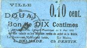 Banknotes Douai (59). Ville. Billet. 10 centimes 6.5.1915, papier bleu