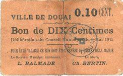 Banknotes Douai (59). Ville. Billet. 10 centimes 6.5.1915, papier brun-rose