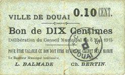 Banknotes Douai (59). Ville. Billet. 10 centimes 6.5.1915, papier gris clair