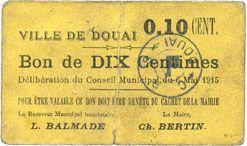 Banknotes Douai (59). Ville. Billet. 10 centimes 6.5.1915, papier jaune foncé