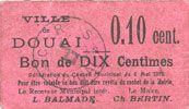 Banknotes Douai (59). Ville. Billet. 10 centimes 6.5.1915, papier lilas