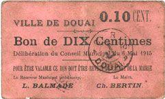 Banknotes Douai (59). Ville. Billet. 10 centimes 6.5.1915, papier rose