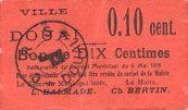 Banknotes Douai (59). Ville. Billet. 10 centimes 6.5.1915, papier rouge