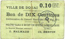 Banknotes Douai (59). Ville. Billet. 10 centimes 6.5.1915, papier vert clair