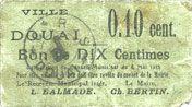 Banknotes Douai (59). Ville. Billet. 10 centimes 6.5.1915, papier vert pâle