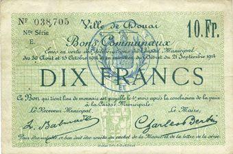 Banknotes Douai (59). Ville. Billet. 10 francs 30.8 et 15.10.1914, nlle série, E
