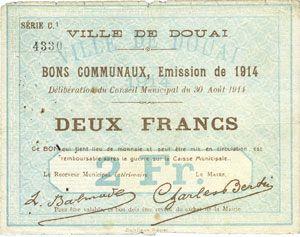Banknotes Douai (59). Ville. Billet. 2 francs 30.8.1914, série C1