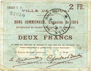 Banknotes Douai (59). Ville. Billet. 2 francs 30.8.1914, série C6
