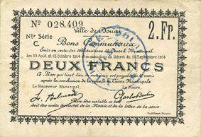 Banknotes Douai (59). Ville. Billet. 2 francs 30.8 et 15.10.1914, nlle série, C
