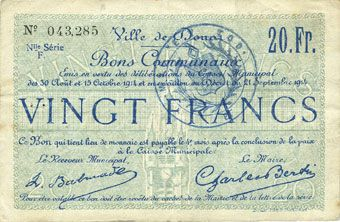Banknotes Douai (59). Ville. Billet. 20 francs 30.8 et 15.10.1914, nlle série, F