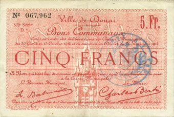 Banknotes Douai (59). Ville. Billet. 5 francs 30.8 et 15.10.1914, nlle série, D1