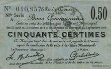 Banknotes Douai (59). Ville. Billet. 50 centimes 30.8 et 15.10.1914, nlle série, A