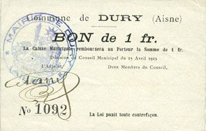 Banknotes Dury (02). Commune. Billet. 1 franc 15.4.1915