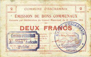 Banknotes Escarmain (59). Commune. Billet. 2 francs 15.1.1915, série I