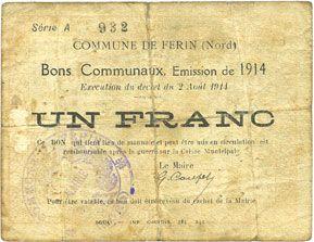 Banknotes Ferin (59). Commune. Billet. 1 franc, émission 1914, série A