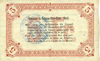 Banknotes Fontaine-Notre-Dame (59). Commune. Billet. 5 francs, série A