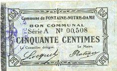 Banknotes Fontaine-Notre-Dame (59). Commune. Billet. 50 centimes, série A