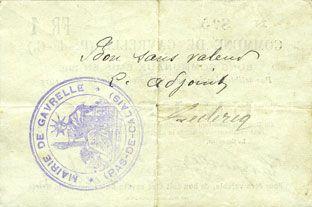 Banknotes Gavrelle (62). Commune. Billet. 1 franc 20.3.1915