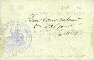 Banknotes Gavrelle (62). Commune. Billet. 2 francs 20.3.1915