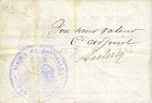 Banknotes Gavrelle (62). Commune. Billet. 2 francs 22.8.1915