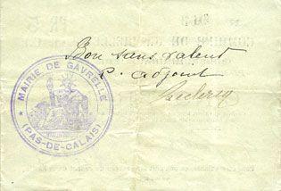 Banknotes Gavrelle (62). Commune. Billet. 5 francs 20.3.1915