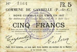 Banknotes Gavrelle (62). Commune. Billet. 5 francs 22.8.1915