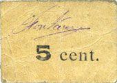 Banknotes Hergnies (59). Boucherie Louis Fontaine. Billet. 5 centimes