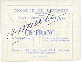Banknotes Leforest (62). Commune. Billet. 1 franc 1914, essai sans numérotation ni cachet et signature /Annulé
