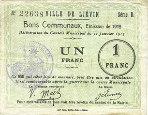 Banknotes Liévin (62). Ville. Billet. 1 franc 31.1.1915, série D