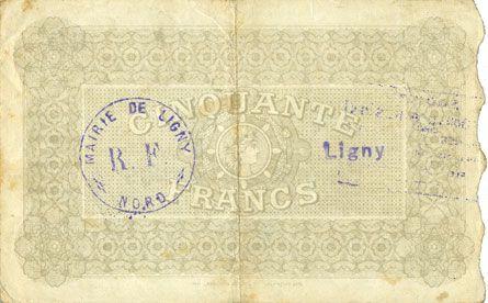 Banknotes Ligny (= Beaucamps-Ligny) (59). Société des Bons d'Emission. Billet. 50 francs, série 1