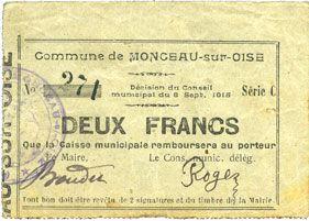 Banknotes Monceau-sur-Oise (02). Commune. Billet. 2 francs 8.9.1915, série C
