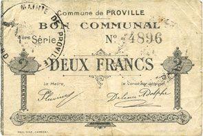 Banknotes Proville (59). Commune. Billet. 2 francs 14.11.1915, 1ère série