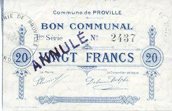 Banknotes Proville (59). Commune. Billet. 20 francs, cachet annulé