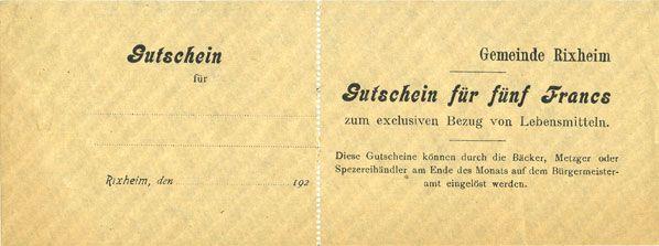 Banknotes Rixheim. Commune. Billet. 5 francs 192(.). Avec talon