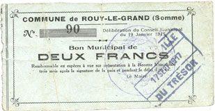 Banknotes Rouy-le-Grand (80). Commune. Billet. 2 francs du 19.1.1915