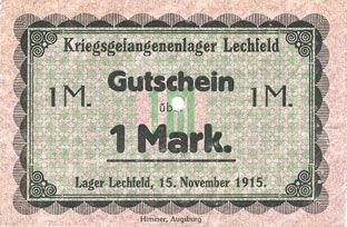 Banknotes Allemagne. Lechfeld. Kriegsgefangenenlager. Billet. 10 mrk 15.11.1915 Signature imprimée en noir/dos