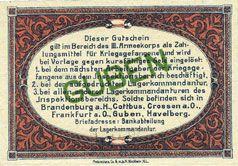 Banknotes Guben. Inspektion der KGL im Bereich des XIII. Armeekorps. Billet. 10 pf 1.10.1917