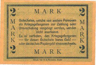 Banknotes Müncheberg. Gefangenenlager. Billet. 2 mark n. d., var. papier foncé