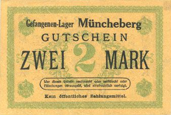 Banknotes Müncheberg. Gefangenenlager. Billet. 2 mark n. d.