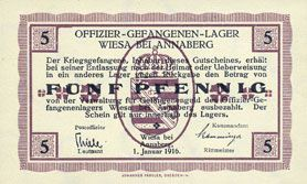 Banknotes Wiesa bei Annaberg. Offizier- Gefangenenlager. Billet. 5 pfennig 1.1.1916