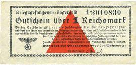 Banknotes Allemagne. Camps allemands de prisonniers de guerre 1939-1945. Billet. 1 mark